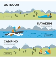 Outdoor adventure kayaking and camping vector
