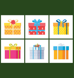 Packed holiday boxings with bows and ribbon decor vector