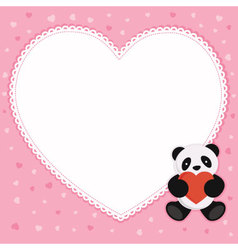 Panda bear with heart shape frame vector image