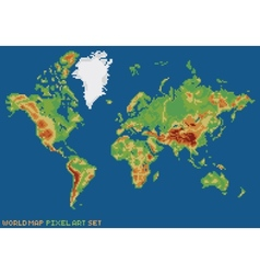 pixel art style world physical map vector image
