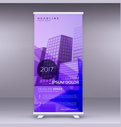 Purple abstract standee roll up banner design vector