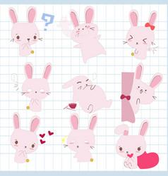 rabbit in various cute emotion vector image