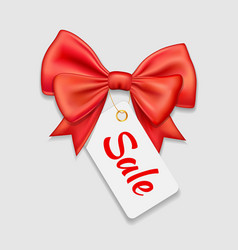 red bow ribbon and tag sale isolated vector image
