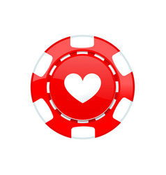 Red casino chip isolated on white background vector