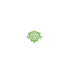 retro green hop with ornament for craft beer vector image