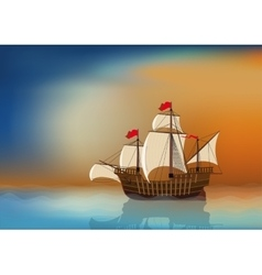 Sailing ship at sea vector