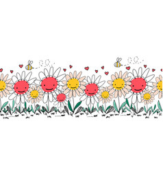 Seamless border doodle flowers bees and vector