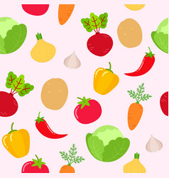 seamless vegetables pattern on pink background vector image