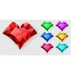 set crystal hearts vector image