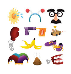 Set funny and crazy things to fools day vector