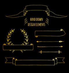 Set gold handdrawn vintage elements ribbons vector