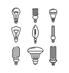 set light bulbs various shapes icons vector image