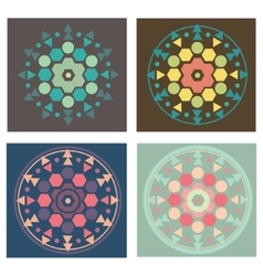 Set of 4 colored versions geometry mandala pattern vector