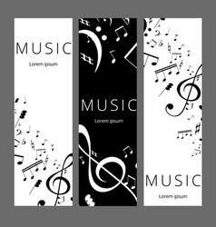 set of abstract banners with black and white music vector image