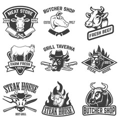 Set of beef meat steak house emblems design vector