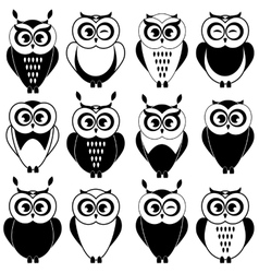 Set of black and white owls vector