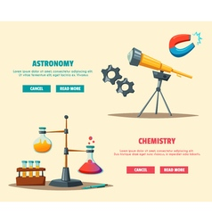 Set of science logo Cartoon Education theme vector image