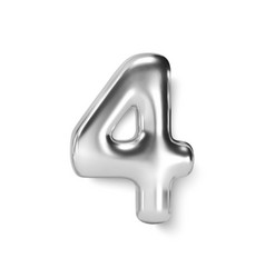 silver number balloon 4 four realistic 3d vector image