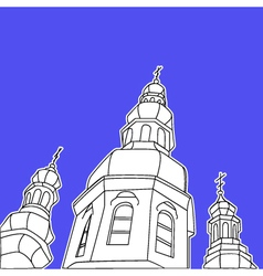 Sketch of the Christian church against the blue vector