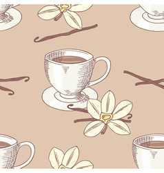 Sketched coffee cup with vanilla flower seamless vector image