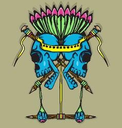 Skull totem with vibrant color vector