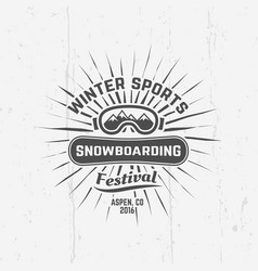 snowboarding winter sports black emblem vector image