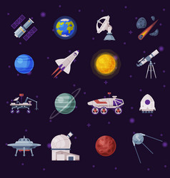 space objects set cosmos exploration space vector image