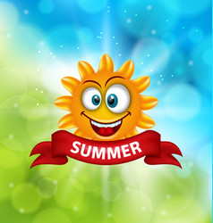 Summer background with smiling sun vector