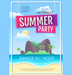 summer disco party poster with sea beach vector image