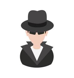 Suspicious looking man with sunglasses criminal vector