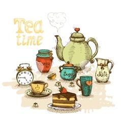 Tea time still life vector