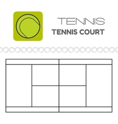 Tennis ball and court Flat sports icon vector
