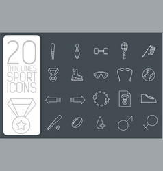 thin line sport set icons concept vector image