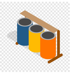 three colorful selective trash cans isometric icon vector image