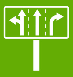 traffic lanes at crossroads junction icon green vector image