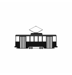 Tram icon in simple style vector