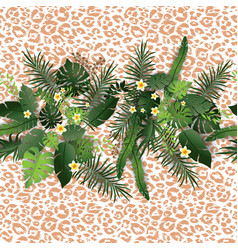 tropical flowers and animal pattern vector image