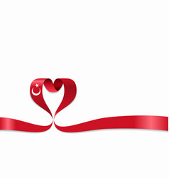 Turkish flag heart-shaped ribbon vector