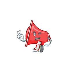 Two finger red loudspeaker character for speak vector