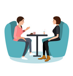 two young woman chatting in a coffee shop best vector image
