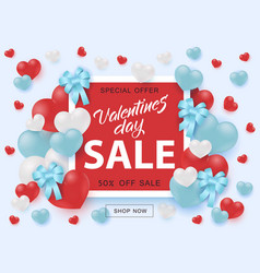 valentines day sale banner with sign on red shape vector image