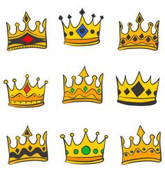 Various crown elegant doodle style vector