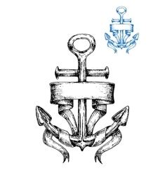 Vintage marine anchor sketch with ribbon vector