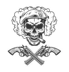 Vintage monochrome soldier skull wearing beret vector