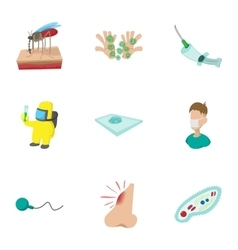 Virus malaria icons set cartoon style vector image