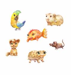 Watercolor pets little cute suitable for children vector
