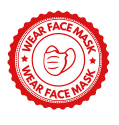 Wear face mask sign or stamp vector