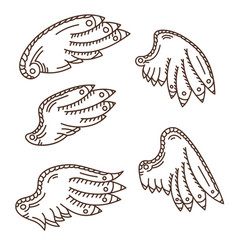 Wings icons hand drawn set vector