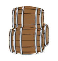 wooden barrels isolated vector image