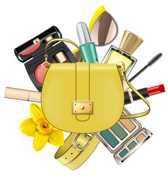 Yellow fashion accessories concept vector